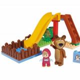 Set Constructie Cuburi Unico Masha Si Ursul Piscina Cu Tobogan 29 Piese