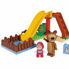 Set Constructie Cuburi Unico Masha Si Ursul Piscina Cu Tobogan 29 Piese - Set de constructie