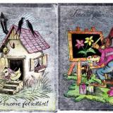 FELICITARE CARTE POSTALA, 2 BUC - 9 - Carte postala tematica, Circulata, Fotografie