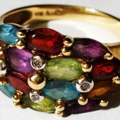28.Inel aur 3, 2 grame marcat 10 carate cu 4 diamante mici si diverse pietre - Inel diamant, Carataj aur: 14k, Culoare: Galben