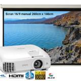 Pachet Videoproiector Epson EH-TW5210 FullHD Ecran Blackmount manual home cinema 260x146cm