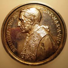 5.638 ITALIA VATICAN MEDALIE PAPA BENEDICT XV 1920 AN VII ARGINT 35, 8g MISTRUZZI, Europa