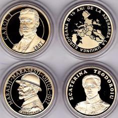 Set complet 4 bucati 50 bani 2017 PROOF: Carol I + UE+ Ferdinand + Ecaterina Teo - Moneda Romania