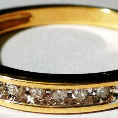 29. Inel aur 1.6 grame marcat 10 carate cu 12 diamante - Inel diamant, Carataj aur: 14k, Culoare: Galben