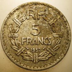 A.472 FRANTA 5 FRANCS FRANCI 1952 RARA, Europa, Aluminiu