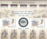 UNIVERSITATEA BUCURESTI - FACULTATEA DE DREPT  BLOC,2009, MNH,ROMANIA., Istorie, Nestampilat