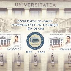 UNIVERSITATEA BUCURESTI - FACULTATEA DE DREPT BLOC, 2009, MNH, ROMANIA. - Timbre Romania, Istorie, Nestampilat
