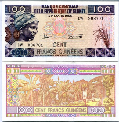 GUINEA- 100 FRANCS 2015 (2016)-  UNC!! foto