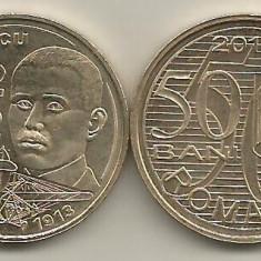 ROMANIA 50 BANI 2010 AUREL VLAICU, UNC, ( necirculata ) din fisic - Moneda Romania, Alama