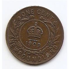 Canada - Newfoundland 1 Cent 1909 - Edward VII, Bronz, TJ4, 25.53 mm KM-9, America de Nord