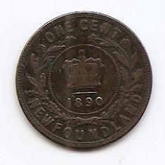 Canada - Newfoundland 1 Cent 1890 - Victoria, Bronz, TJ4, 25.33 mm KM-1, America de Nord