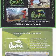 ROMANIA - GRADINA CARPATILOR, BLOC + MINISHEET, 2010, MNH, ROMANIA. - Timbre Romania, Transporturi, Nestampilat