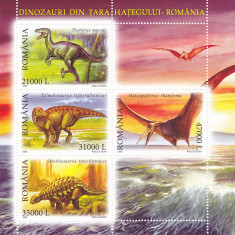 ANIMALE PREISTORICE BLOC 2005, MNH, ROMANIA. - Timbre Romania, Fauna, Nestampilat