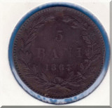 (R) MONEDA ROMANIA - 5 BANI 1867 - HEATON