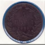 (R) MONEDA ROMANIA - 5 BANI 1867 - HEATON