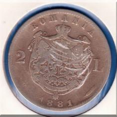 (R) MONEDA DIN ARGINT ROMANIA - 2 LEI 1881, CAROL I DOMNUL ROMANIEI - Moneda Romania