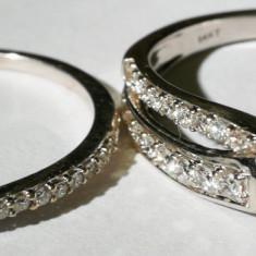 34.Pereche 2 buc inele aur alb 3, 7+1, 6 gr.14 k cu diamane, se poarta impreuna - Inel diamant, Carataj aur: Nespecificat