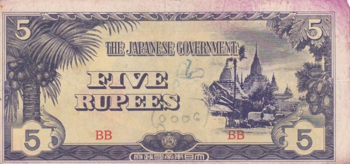 OCUPATIA JAPONEZA IN BURMA 5 rupees 1942 VF!!! foto mare