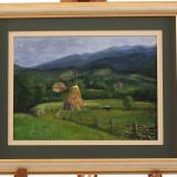 Tablou, pictură în ulei - peisaj idilic montan - Pictor roman, Peisaje, Realism