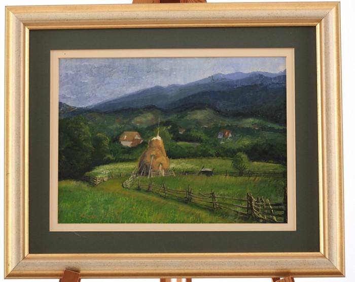 Tablou, pictura in ulei - peisaj idilic montan foto mare
