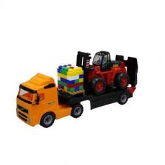 Trailer Powertruck cu stivuitor si palet de cuburi - Wader - Masinuta, Plastic