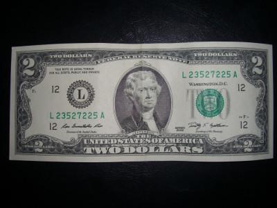 Bancnota USA 2 dolari necirculata UNC foto
