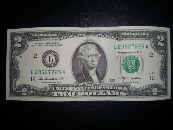 Bancnota USA 2 dolari necirculata UNC foto mare