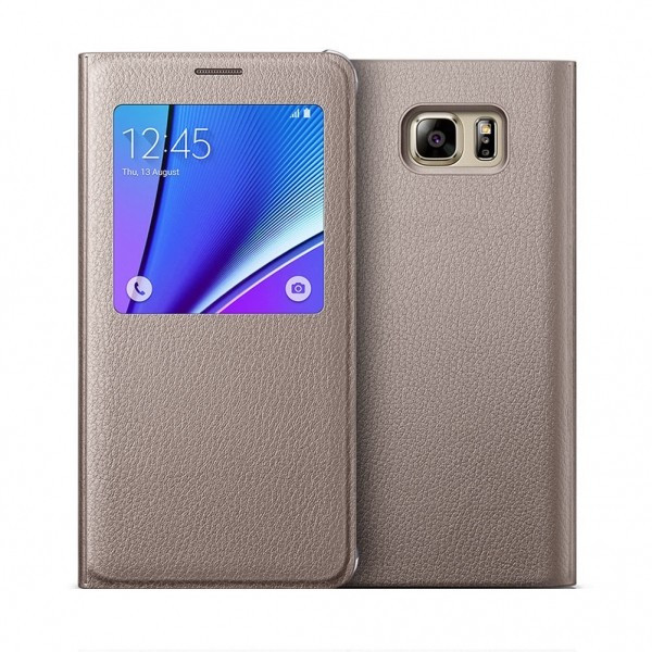 Husa flip s-view Samsung Galaxy Note 5, auriu foto mare