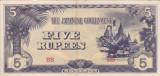 OCUPATIA JAPONEZA IN BURMA 5 rupees 1942 VF+++!!!