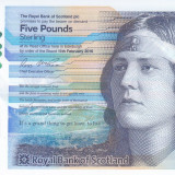 Bancnota Scotia ( Royal Bank ) 5 Pounds 2016 - PNew aUNC ( polimer ) - bancnota europa