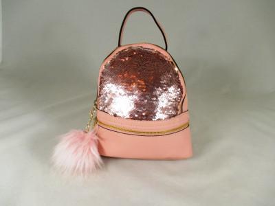 Rucsac/ghiozdan roz cu paiete si breloc puf+CADOU foto