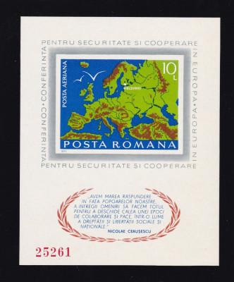 ROMANIA 1975 , LP 892  , CONFERINTA PENTRU SECURITATE HELSINKI  COLITA NED.  MNH foto
