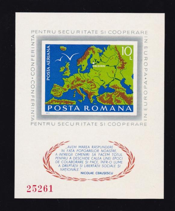 ROMANIA 1975 , LP 892  , CONFERINTA PENTRU SECURITATE HELSINKI  COLITA NED.  MNH foto mare