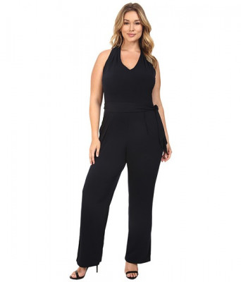 MICHAEL Michael Kors Plus Size Belted Halter Jumpsuit New Navy foto
