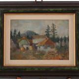 Tablou, pictură în ulei - căsuțe la țară - Pictor roman, Peisaje, Realism