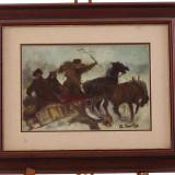 Pictură în ulei de A. Ioniță - Plimbare cu sania trasă de cai - Pictor roman, Scene gen, Realism