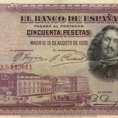 BANCNOTA de colectie SPANIA 50 Pesetas 1928, Europa