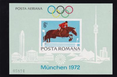 ROMANIA 1972 , LP 789  , PREOLIMPIADA   MUNCHEN COLITA  NEDANTELATA MNH foto