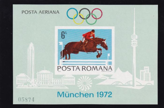 ROMANIA 1972 , LP 789  , PREOLIMPIADA   MUNCHEN COLITA  NEDANTELATA MNH foto mare