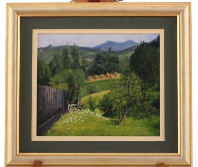 Tablou, pictura in ulei - peisaj montan foto