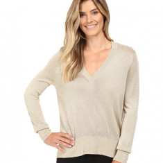 Michael Kors Metallic V-Neck Sweater High-Low Khaki