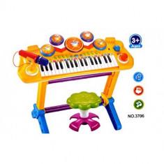 Orga cu scaunel, tobe, microfon / Jucarie pentru copii cu sunete si lumini D7L26984 - Instrumente muzicale copii