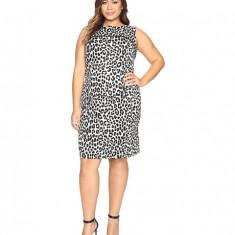 MICHAEL Michael Kors Plus Size Sleeveless Cheetah Yoke Dress Black, Marime: L, Culoare: Negru