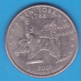 (M1729) MONEDA SUA - QUARTER DOLLAR 2001, LIT. D - NEW YORK, America de Nord