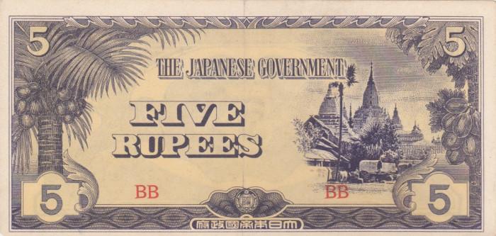OCUPATIA JAPONEZA IN BURMA 5 rupees 1942 VF+++!!! foto mare