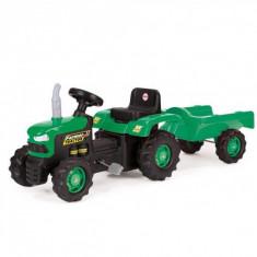 Tractor cu pedale si remorca din plastic - Dolu