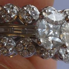 Inel dama, aur alb, cu 9 diamante, unul mare, marcat ; 1, 27 carate - Inel diamant, Carataj aur: 18k