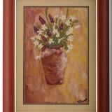 Tablou, pictură: Vas cu flori de câmp - Pictor roman, Ulei, Realism