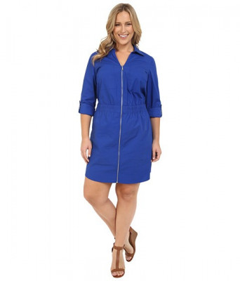 Michael Kors Plus Size Zip Dring Dress Royal foto