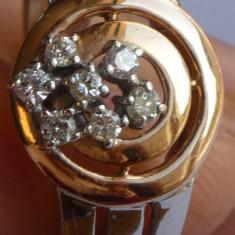 Inel dama, aur alb si galben, cu 7 diamante de 2mm fiecare, marcat - Inel diamant, Carataj aur: 18k